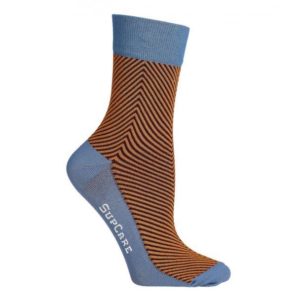 Compression crew socks with bamboo fibers, Herringbone orange