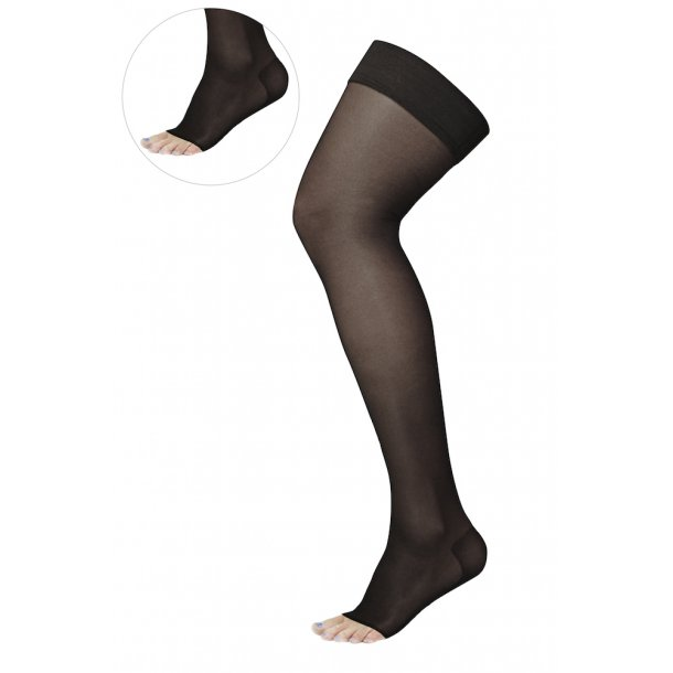 Compression stockings class 2, AGH, Stay-Up, black, without toe, (140 D)