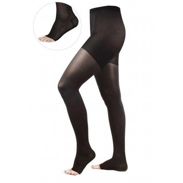 Compression tights kl. 2 AT, black, open toe 140 D