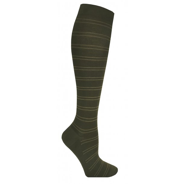 Compression stockings class 2, AD, green with stripes