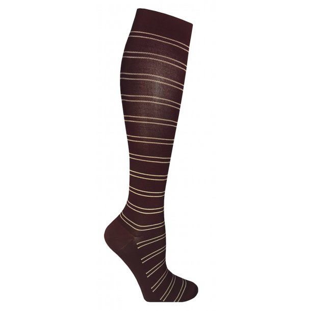 Compression stockings class 2, AD, bordeaux with stripes