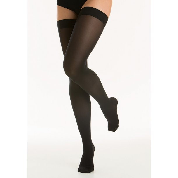Medical compression stockings class 2, AGH, Stay-Up, black, with toe