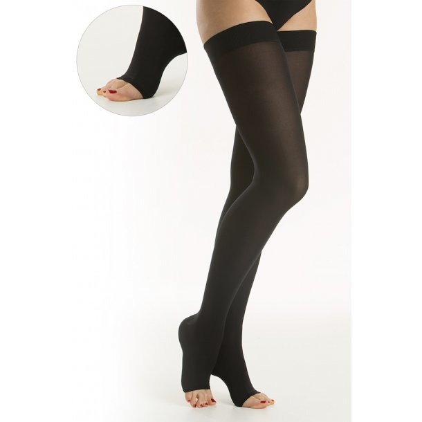 Medical compression stockings class 2, AGH, Stay-Up, black, without toe