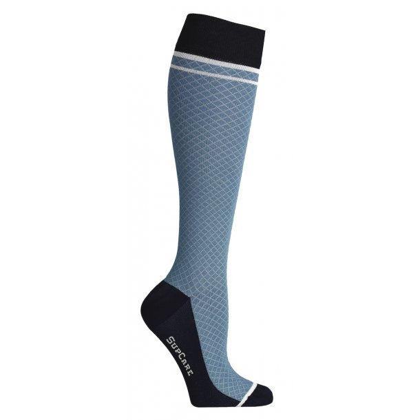 Compression stockings with cotton/wool,  blue / grid