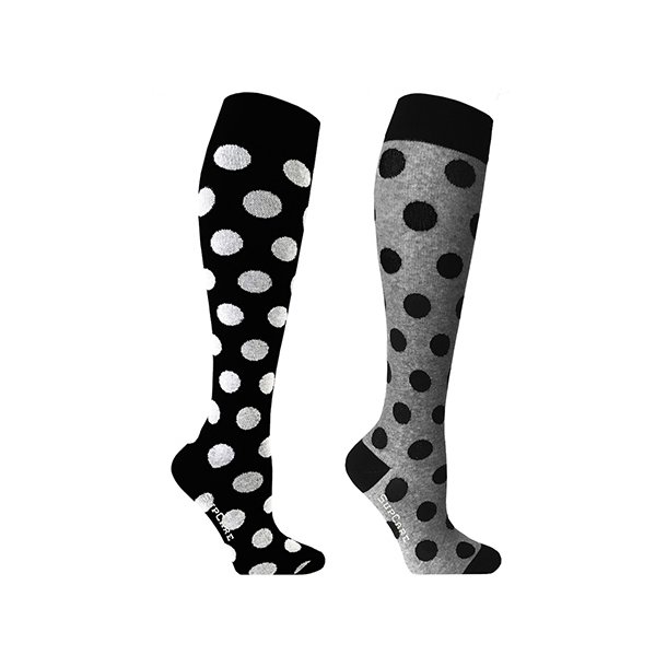 2 pairs of compression stockings with polka dots