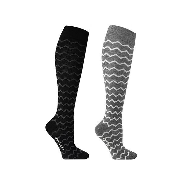 2 pairs of compression stockings with zig-zag pattern