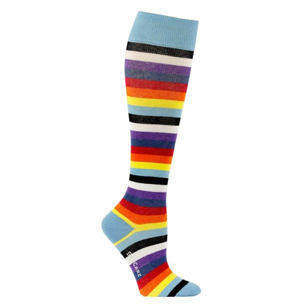 Compression stockings lightblue with colore stripes