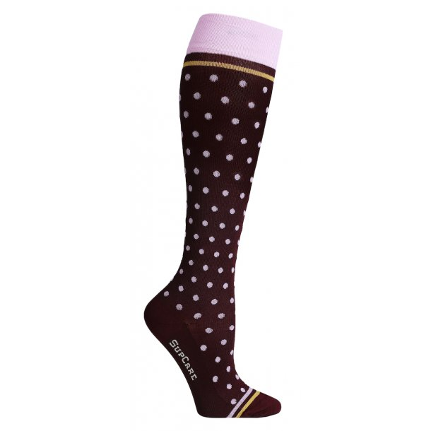 Compression stockings bamboo fibers, burgundy with pink dots