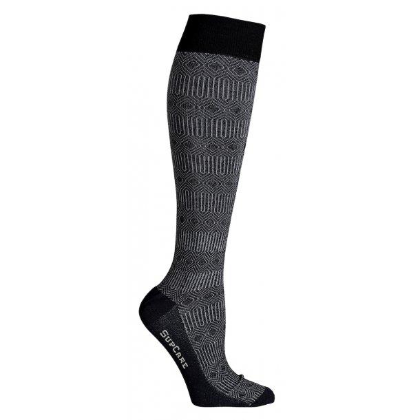 Compression stockings bamboo, black marocco pattern, WIDE CALF