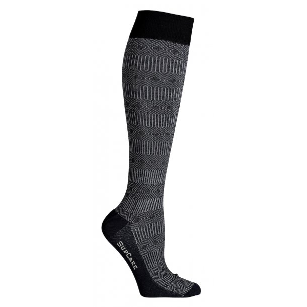 Compression stockings bamboo, black marocco pattern