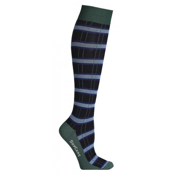 Compression stockings, checkered black/green