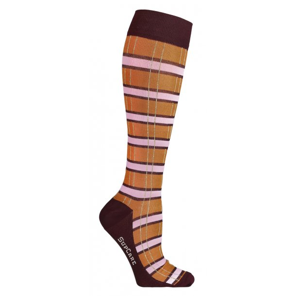 Compression stockings, checkered orange/red with gold glitter