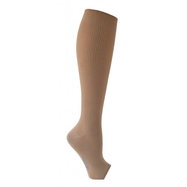 Flight support stockings in microfiber, open toe, beige