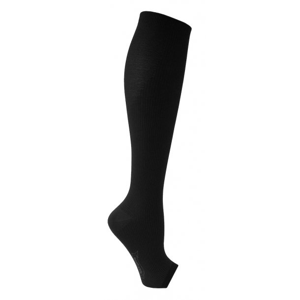 Flight support stockings in microfiber, open toe, black
