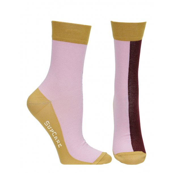 Compression crew socks with bamboo fibers, pink/curry
