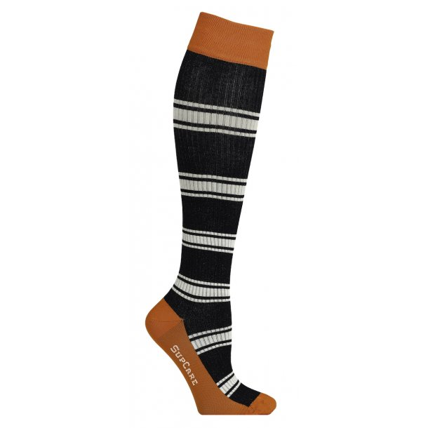Compression stockings with bamboo fibers, Rib weave black / orange