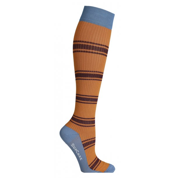 Compression stockings with bamboo fibers, Rib Weave blue / orange