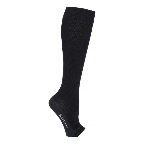 Compression stockings bamboo, black, open toe, WIDE CALF