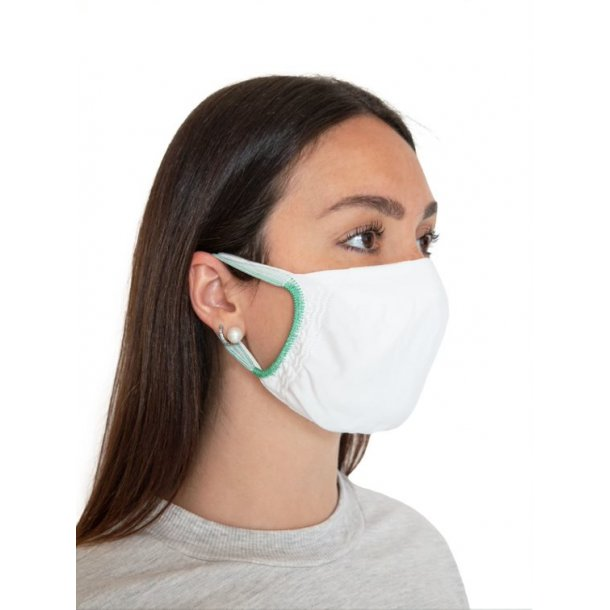 2 Face mask / mouth protection in textile without seams.