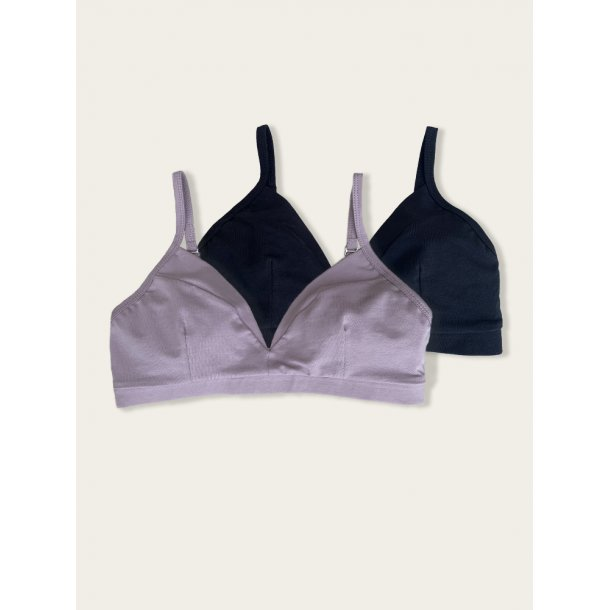 Bra, 2 pack, black and lilac