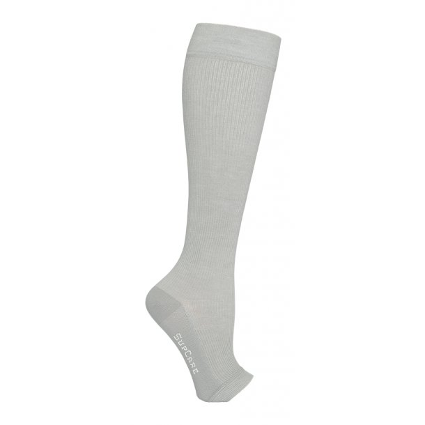 Compression stockings bamboo, grey, open toe, WIDE CALF