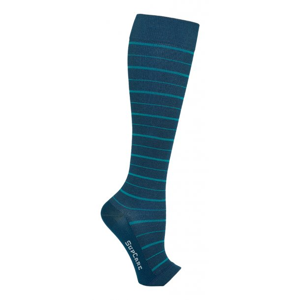 Compression stockings bamboo, open toe, blue stripes